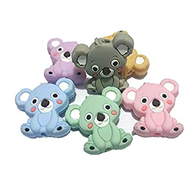 Alenybeby 6pcs Silicone Koala Beads Teether Baby Teething Toys BPA Free Food Grade Pearls Nursing Gifts DIY Silicone Necklace Baby Gift (Mix Color 6pcs): Toys & Games