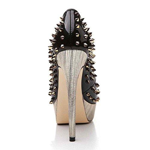 Arc-en-Ciel zapatos de plataforma de la mujer peep toe de tacón alto-blackgrey-us14