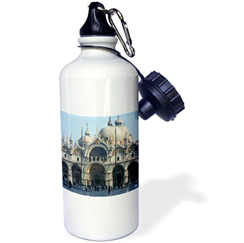 3dRose wb_45520_1 ''Outside of St. Marks Cathedral in Venice Italy'' Sports Water Bottle, 21 oz, White by 3dRose