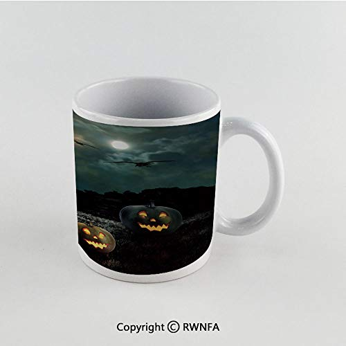 11oz Unique Present Mother Day Personalized Gifts Coffee Mug Tea Cup White Halloween,Yard of an Old House at Night Majestic Moon Sky Creepy Dark Evil Face Pumpkins Decorative,Multicolor Funny Ceramic