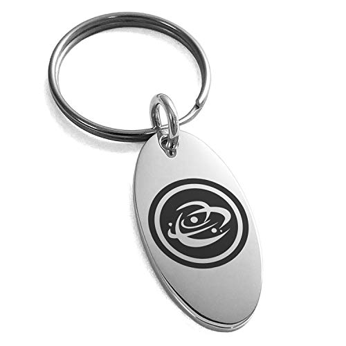 (Tioneer Stainless Steel Cosmic Element Rune Symbol Engraved Small Oval Charm Keychain Keyring)