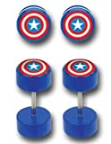 Fake Captain America Cheater Earrings, Fake Plugs 18 gauge - Sold as a pair