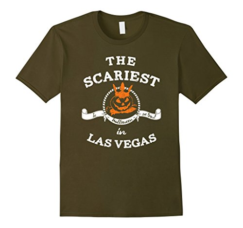 Mens The Scariest Pumpkin In Las Vegas Halloween T-Shirt Funny Small Olive (Halloween Las Vegas 2017)
