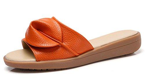 sandalias y los deslizadores de pendiente femenino de la manera del verano con los zapatos de fondo grueso arrastran la palabra Orange