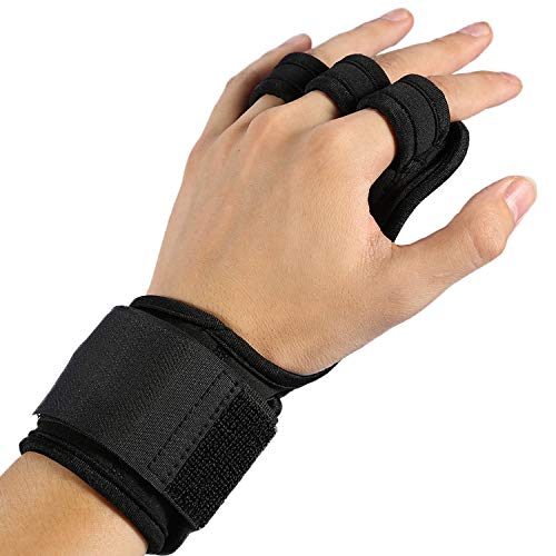Haofy Pull Up Gloves (Pair) with Wrist Support ...