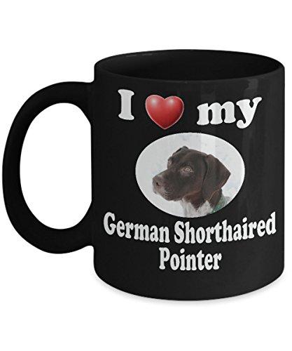 I Love My German Shorthaired Pointer: Black Ceramic Coffee Mug