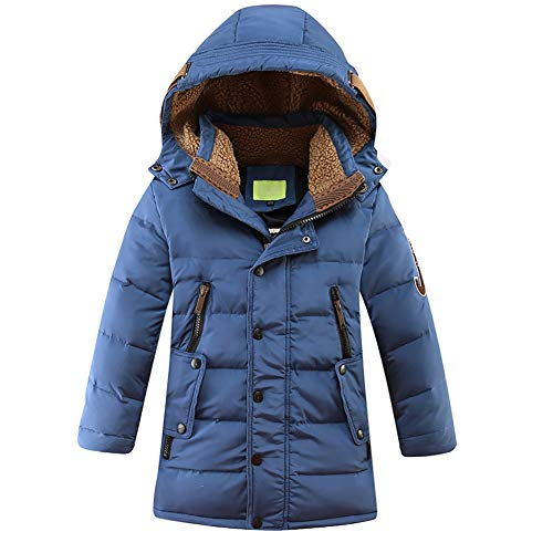 LISUEYNE Big Boys' Hooded Down Coat Mid-Long Winter Puffer Jacket for Kids 11 Blue 140/8