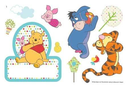 Pooh Nameplate - Winnie the Pooh Name Plate & 13 Colourful Wall Stickers by Winnie the Pooh