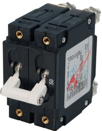 Blue Sea Systems C-Series White Toggle Double Pole 50A Circuit Breaker - White Marine Breaker