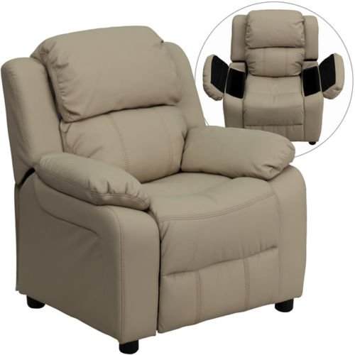 Eight24hours Deluxe Heavily Padded Contemporary Beige Vinyl Kids Recliner with Storage Arms