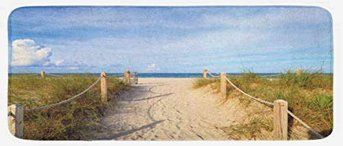 Lunarable Beach Kitchen Mat, Sandy Beach Entry with Fences in South Miami Relaxing American Style Holiday Image, Plush Decorative Kithcen Mat with Non Slip Backing, 47 W X 19 L Inches, Cream Blue