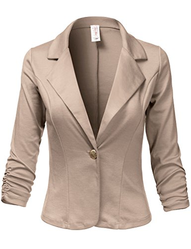 Plus Size 3/4 Shirring Sleeve One Button Comfortable Blazer, 007-Light Mocha, US (Mocha Satin A-line)