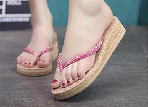 Bottom Soft Comfort Heel PVC Boowhol Ladies Sandals Floral Anti Beach Rose amp; Mid Styles Various Slippers skid and Flops Flip Colours YPvOqYp