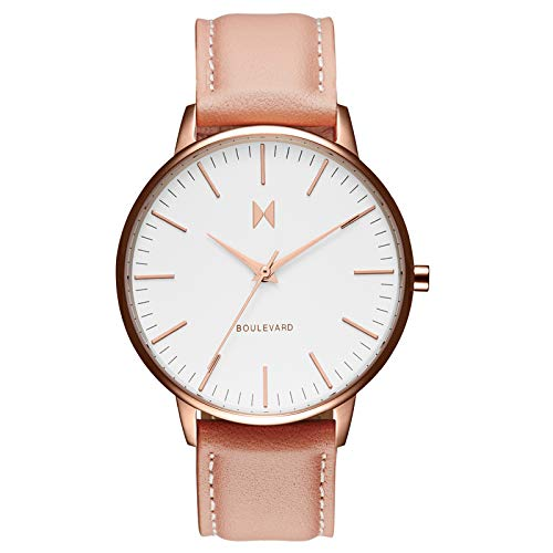(MVMT Boulevard Watches | 38 MM Women's Analog Watch (Pink Leather))