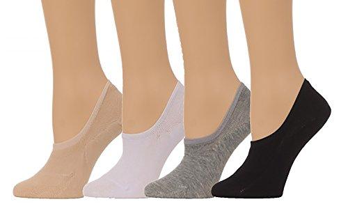 Men's Basic No Show Slipper Socks w/ Silicon Pad - (8 pair set) (One Size(7-11), Multi)