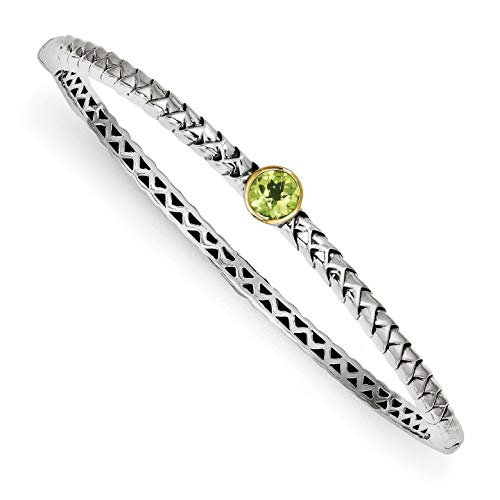 Shey Couture 925 Sterling Silver with Gold-Tone Accent Peridot 6 MM Bangle -