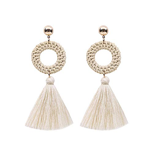 CHoppyWAVE Long Dangle Hoop Earrings for Women Girls,Boho Women Hollow Rattan Circle Cloth Tassel Dangle Long Stud Earrings Jewelry White (Oval Fringe Earrings)