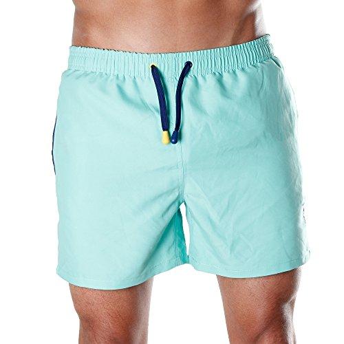 Men's Beachwear Swim Shorts Swim Trunks & Board shorts for Men, Miami Fern Green (Medium) - Sanwin Beachwear