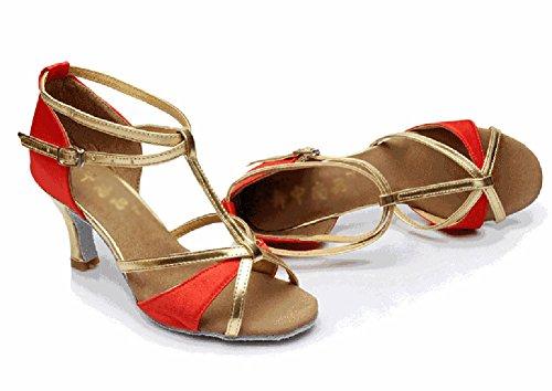 Fondo De Baile Salón De Latino Rojo Sandalia Resistant WYMNAME Tacones Mediados Baile Zapatos Zapatos De Blando Mujeres Wear IqZwZU06O