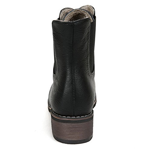 AllhqFashion Mujeres Cordones Mini Tacón Sólido Caña Baja Botas Negro