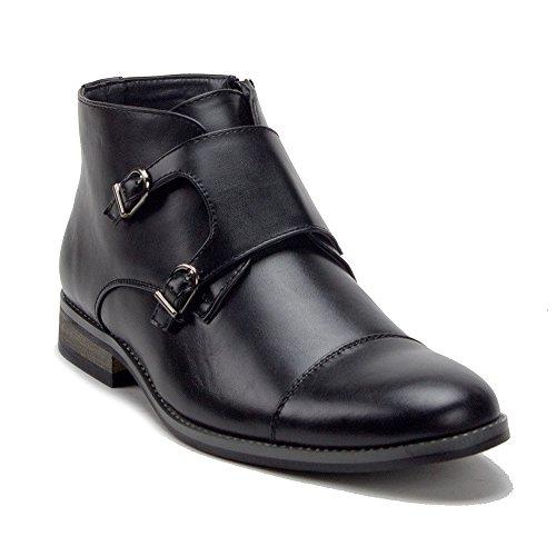 (J'aime Aldo Men's VW315 Ankle High Double Monk Strap Cap Toe Dress Boots, Black, 8.5)