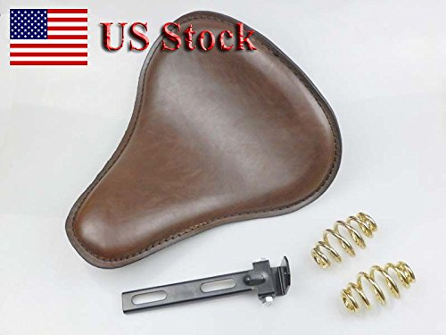 US STOCK!! Motorcycle Brown Synthetic Leather Solo Slim Seat Large Driver Base with 3