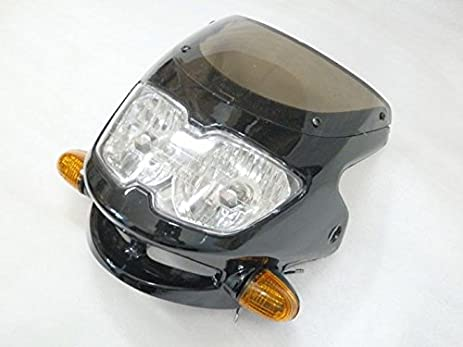 Black Double Twin Dual Headlight Turn Signal Light For Motorcycle Honda CB1000R Suzuki GSXR 1000 600