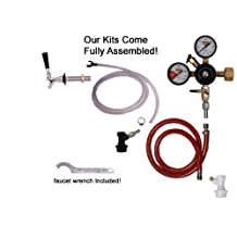 1 Faucet Fridge Kit with Ss Shank, Tailpiece and Standard Faucet, Ball Lock, Chudnow Regulator now with PVC FREE tubing! by Kegconnection
