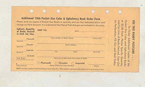 Chrysler Brochure (1966 Chrysler Color & Upholstery Dealer Showroom Album Brochure No Binder)