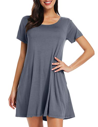 BELAROI Women's Short Sleeve Swing Dresses Summer Casual Pockets T Shirt Dress(L,Deep Gray)