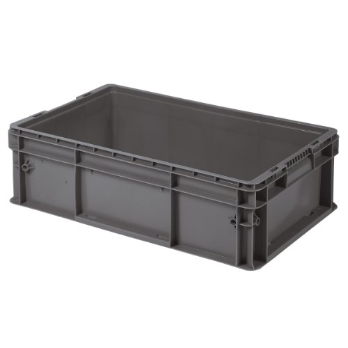 Buckhorn SW241508A206000 Plastic Straight Wall Storage Container Tote, 24-Inch by 15-Inch by 7.5-Inch, Dark Grey