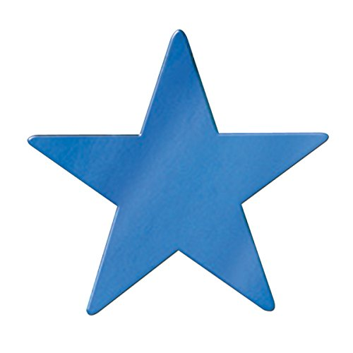 Club Pack of 12 Starry Night Themed Jumbo Blue Metallic Foil Star Cutout Party Decorations 20