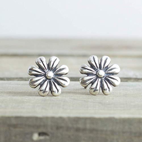 Silver Daisy Flower Stud Earrings Sterling Jewelry Gift For ()