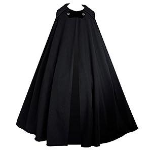 Cykxtees Victorian Vagabond Steampunk Gothic Historical Renaissance Cape Theater Cloak (Black)
