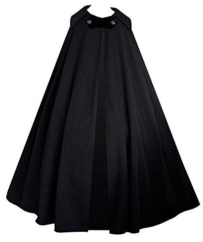 Cykxtees Victorian Vagabond Steampunk Gothic Historical Renaissance Cape Theater Cloak (Black) 3