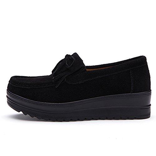 HKR-HC826heise39 Women Tassel Platform Loafers Suede Moccasins Comfort Slip On Wide Width Work Shoes Black 7.5 B(M) US