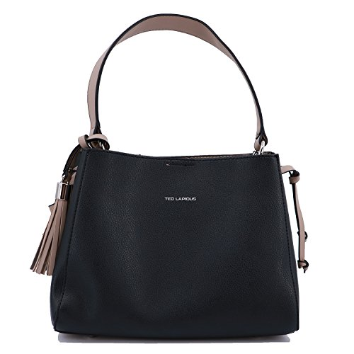 Shoulder handbag Ted Lapidus Tressy 9814 synthetic leather look (Black/Beige)