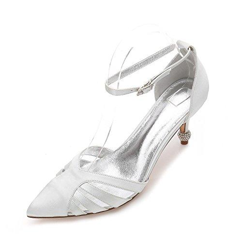 Estrecha L Silver Corte yc Cordón T17767 La Mujeres 33 Del Las Nupciales De Boda Partido Zapatos Los Punta Para Satén xrYw4Hrq