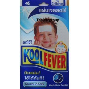 Allthailand- Koolfever GEL Antipyretic Kids Cool Fever 1 Box of 6 Sheets.