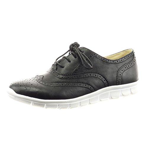 Sopily - Chaussure Mode Richelieu Cheville femmes perforée lacets Talon bloc 2 CM - Noir