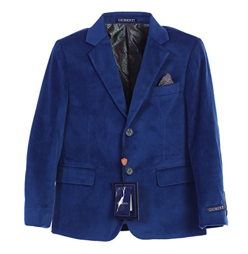 (Gioberti Big Boys Formal Velvet Blazer with Designed Buttons, Royal Blue, Size 12)