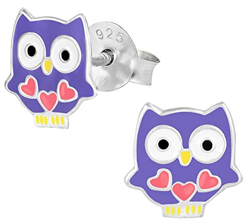 Hypoallergenic Sterling Silver Owl with Hearts Stud Earrings for Kids (Purple/Pink)
