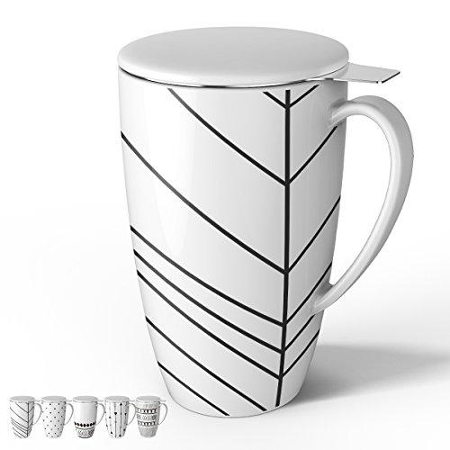 Tea Mug Lid - Sweese 2151 Porcelain Tea Mug with Infuser and Lid, 15 OZ