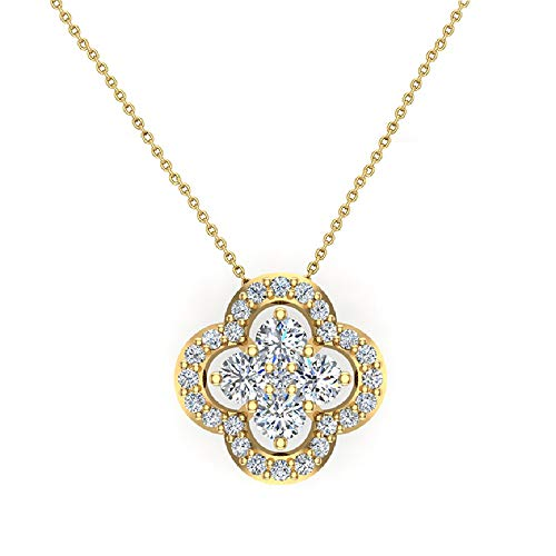 0.80 ct Flower Cluster Center Diamond Necklace Pendant 14K Yellow Gold (P0198)