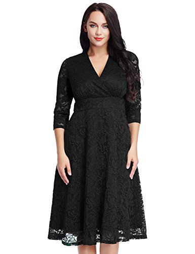 Women's Lace Plus Size Mother of the Bride Skater Dress Bridal Wedding Party Black 20W