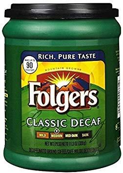 Fresh Taste of Folgers Coffee, Classic Decaf Ground Coffee, Medium Flavor, 11.3 Oz Canister - (1 ()
