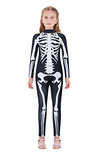 Scary Cosplay Costumes (Little Girls Halloween Cosplay Costume Size 11-12 Scary Skeleton 3D Breathable Stretch Jumpsuit Outfit)