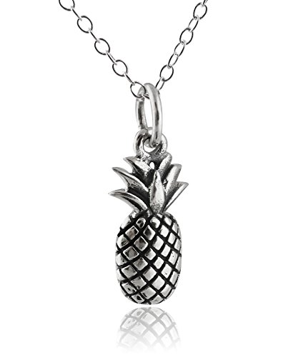 - Sterling Silver Tiny 3D Pineapple Charm Pendant Necklace, 18 Inch Chain