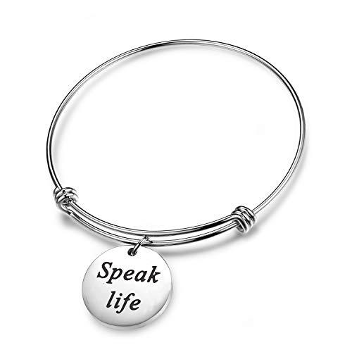 SEIRAA Speak Life Scripture Bracelet Proverbs 18:21 Bible Verse Jewelry Pastor Gift Christian Jewelry for Women (Speak Life)
