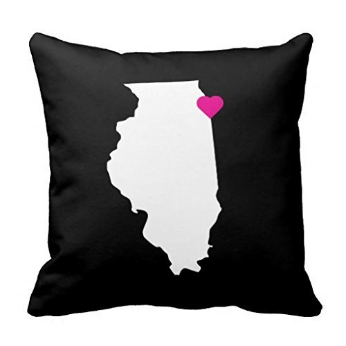 Acelive 16 x16 Inches Customizable Illinois State Love Reversible Pillow Case Cushion Cover for Sofa Halloween Christmas Thanksgiving Gift -